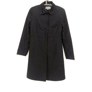 Ann Taylor Trench Coat 4 Casual Solid Black Cotton